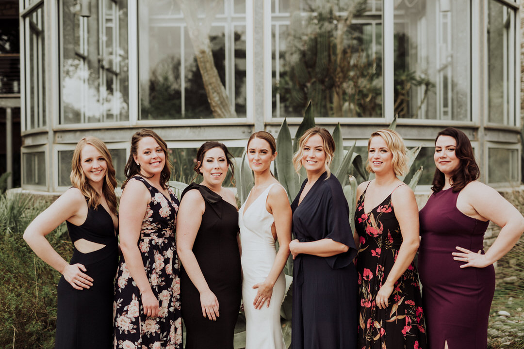 portrait of bridesmaids with bride