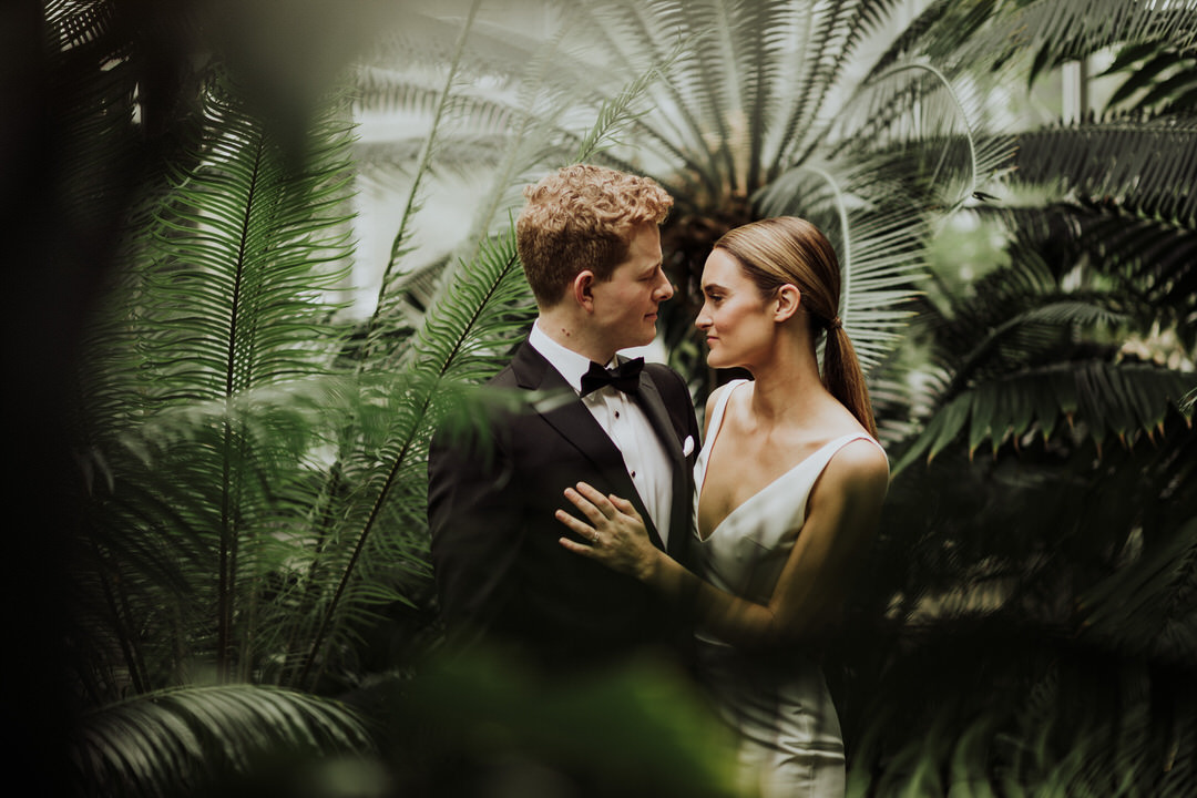 close and intimate photo of bride and groom