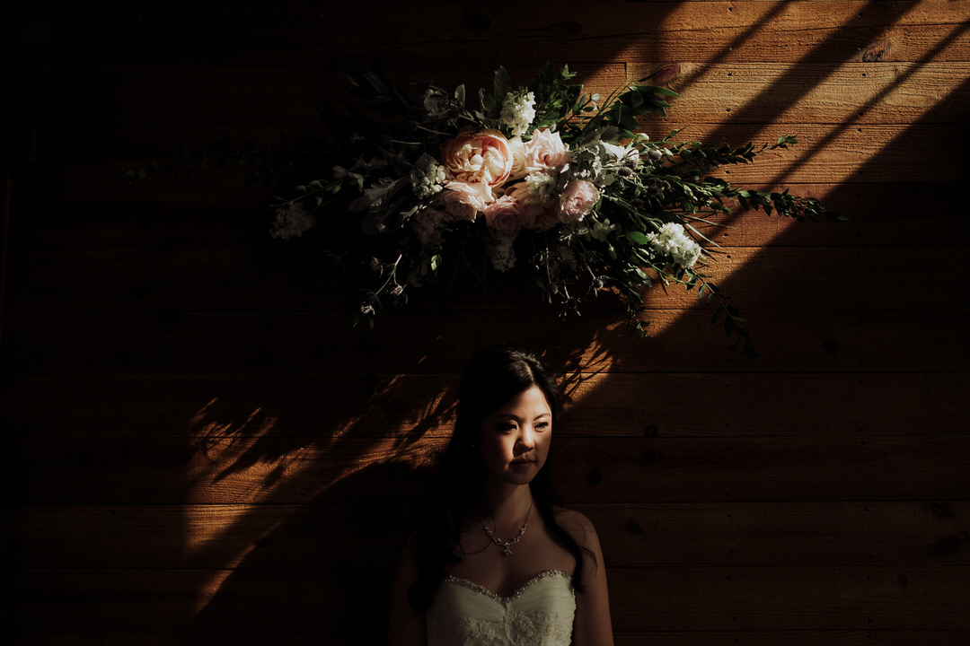 moody portrait of bride