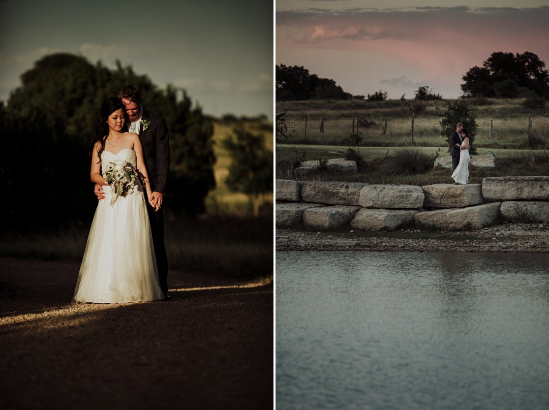 tight and wide portraits of couple during sunset
