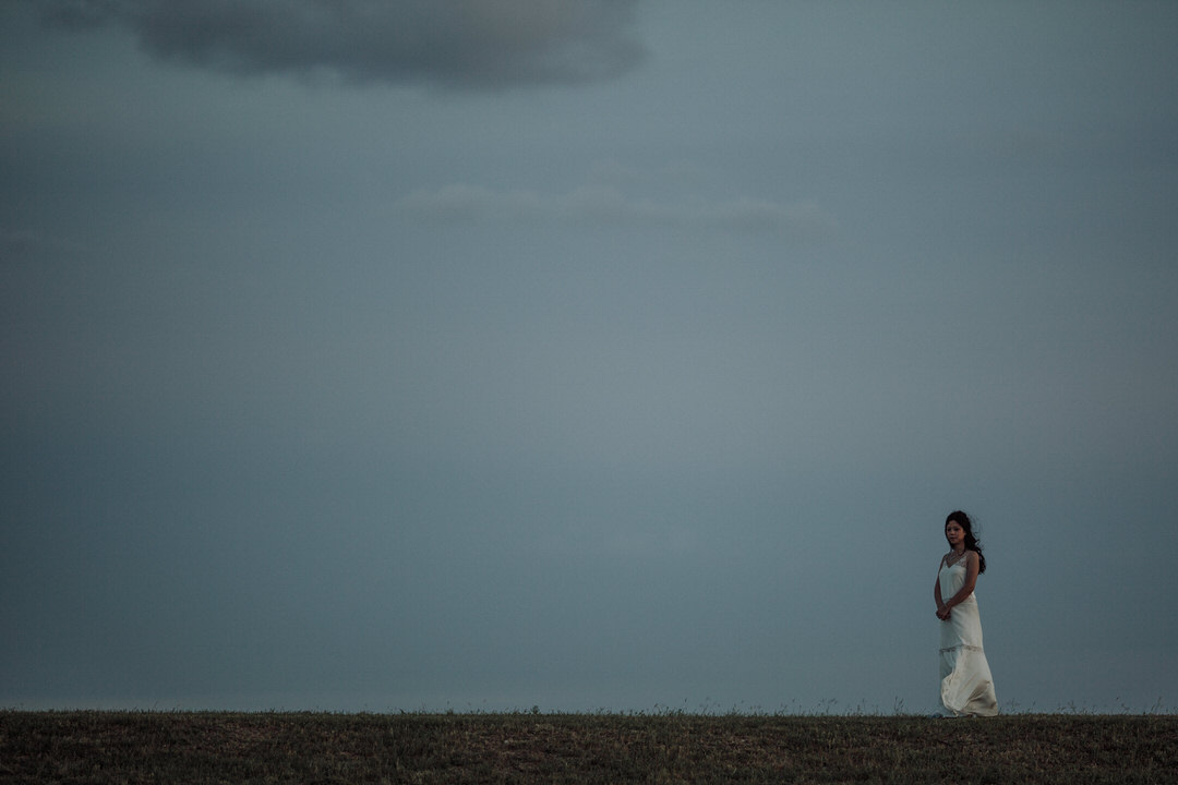 big sky portrait of bride