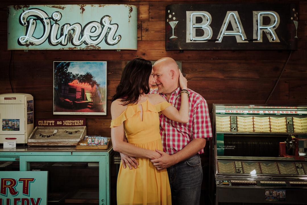 portrait of couple retro location