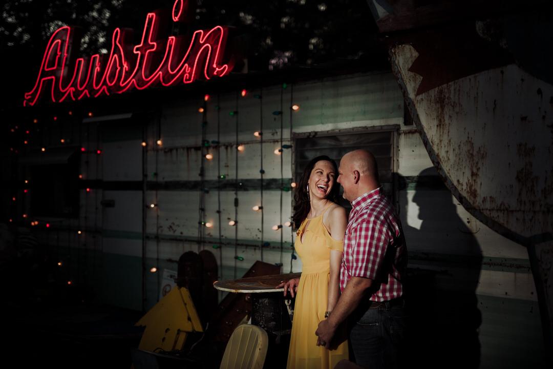 night portrait of couple in austin