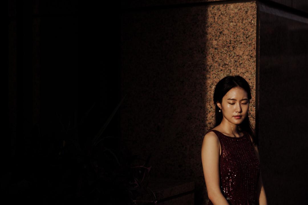 dark portrait of bride