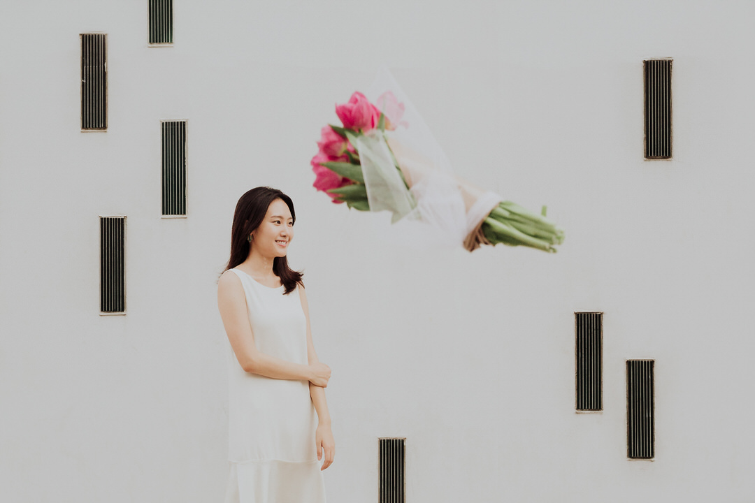 bouquet floating mid air