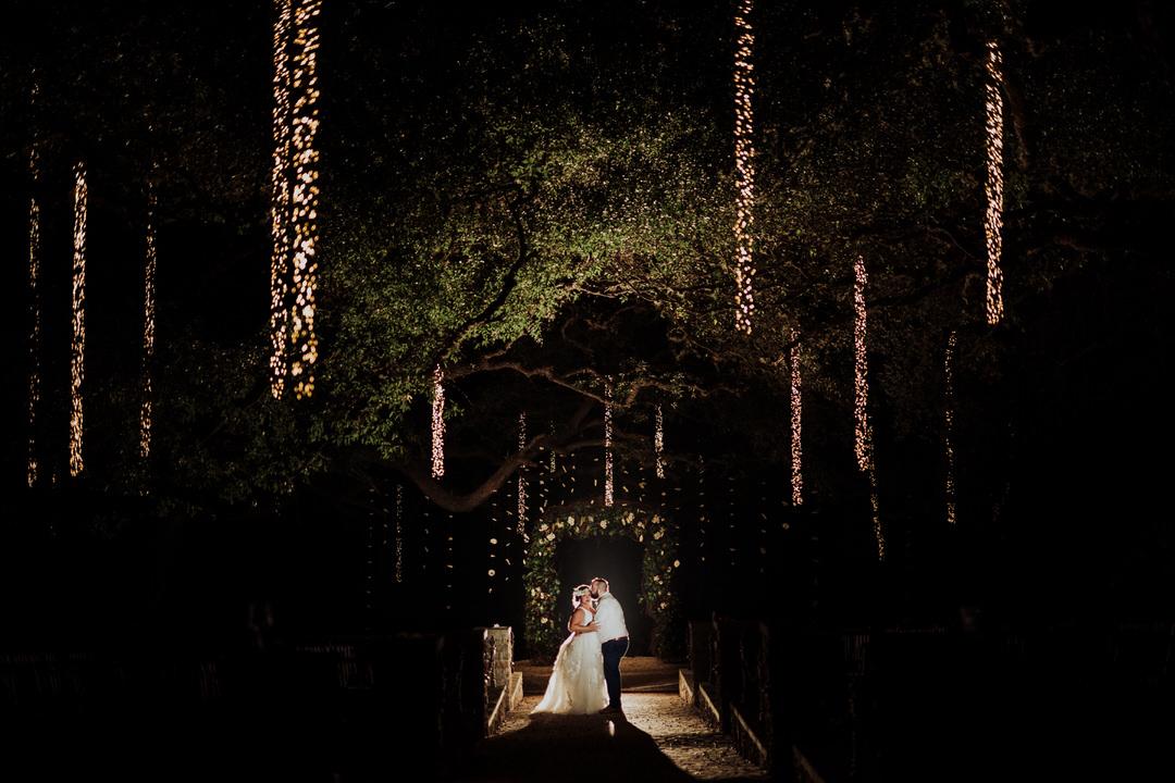 night portrait of couple