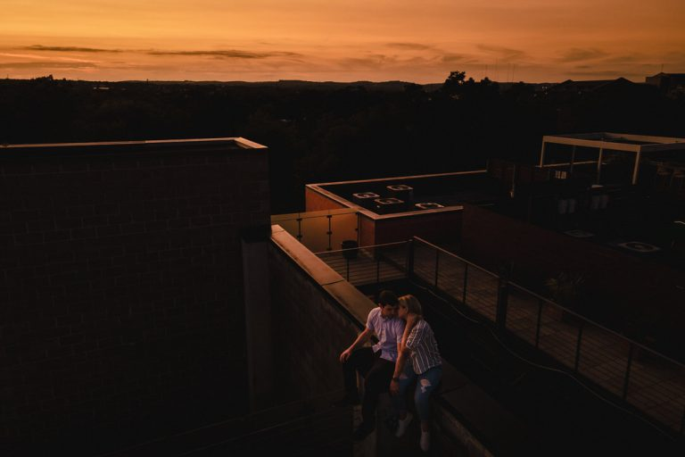 high aerial photo of couple during sunset